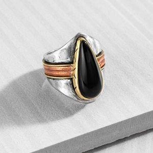 Silpada Black Onyx Statement Ring Size 9